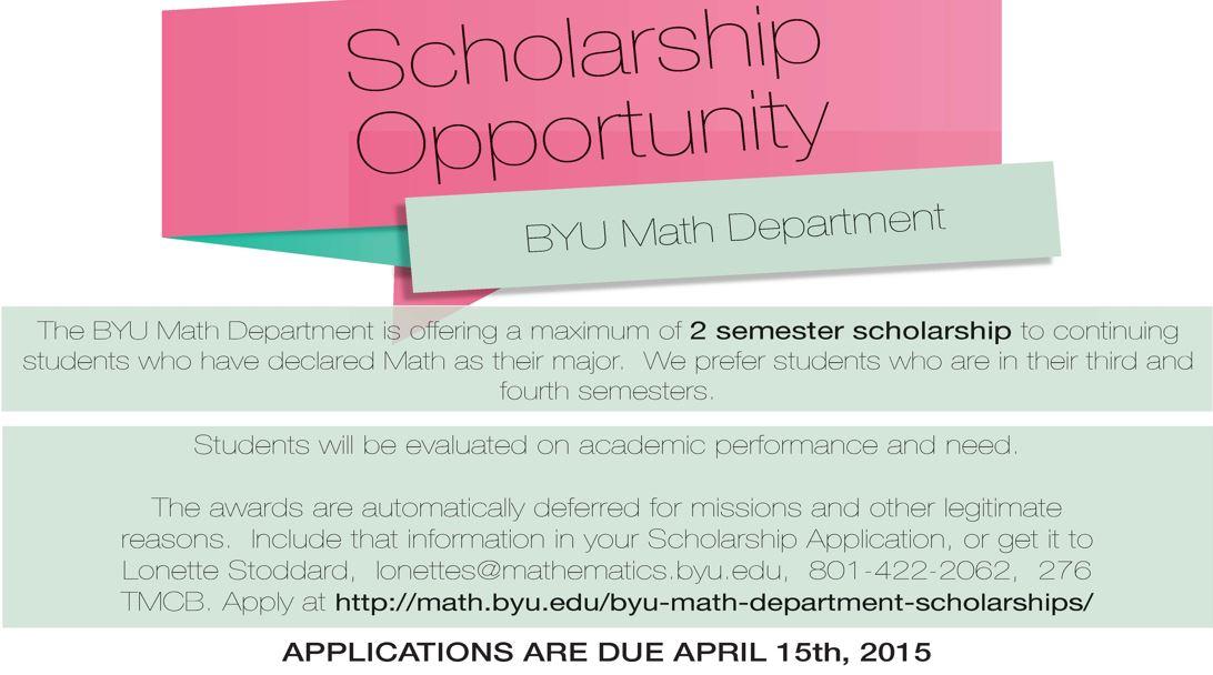 BYU Math Scholarship